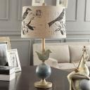 Beige Drum Night Stand Lamp Modern 1 Light Bird Print Fabric Table Light with Ball Stand