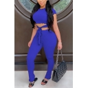 Trendy Women's Set Front Tie Hollow out Lettuce Trim Mock Neck Short Sleeves Tee Top with Long Pants Co-ords