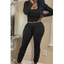 Stylish Women's Set Solid Color Panel Rib Knitted Scoop Neck Long Sleeves Slim Fitted Cropped Tee Top with Long Pants Co-ords