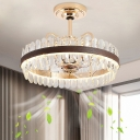 Crystal Prism Light-Gold Ceiling Fan Lamp Circular 31.5