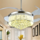 Tapered Living Room Ceiling Fan Light Crystal 19