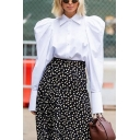 Trendy Women's Blouse Solid Color Button-down Point Collar Long Puff Sleeves Regular Fitted Blouse Shirt
