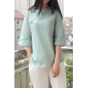 Novelty Womens Shirt Solid Color Cotton Linen Slanting Frog Button Detail 3/4 Sleeve Mandarin Collar Loose Fit Shirt