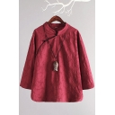 Unique Womens Shirt Cotton Linen Button up Mandarin Collar Regular Fit Long Sleeve Modified Cheongsam Top