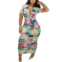 Trendy Women's Dress All over Printed 1/4 Zip Collar Short-sleeved Slim Fitted Bodycon Dress