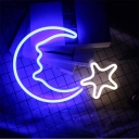 Moon and Star Night Lamp Nordic Plastic Girls Bedroom USB Plug-in LED Wall Light in White