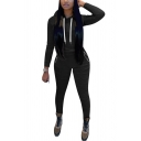 Classic Womens Co-ords Plain Long Sleeve Hoodie Ruched Detail Zipper Pocket Ankle Length Pencil Pants Slim Fit Sport Co-ords