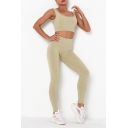 Elegant Women's Yoga Set Solid Color Scoop Neck Sleeveless Slim Fitted Crop Top with High Waist Seamless Long Pants Running Co-ords