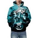 Mens 3D Hooded Sweatshirt Stylish Character Skull Head Rugby Fire Letter Eagle Pattern Drawstring Long Sleeve Regular Fit Hooded Sweatshirt