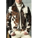 Mens Jacket Trendy Camo Pattern Color Block Flap Chest Pockets Button up Turn-down Collar Slim Fit Long Sleeve Work Jacket