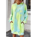 Leisure Women's Hoodie Dress Open Front Tie Dye Printed Front Pockets Banded Hem Open Front Long Sleeves Regular Fitted Hoodie Dress