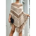 Elegant Women's Knit Top Chevron Pattern Tassel Detail 3/4 Sleeve Round Neck Loose Fit Pullover Shawl Knit Top