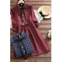 Vintage Women's Shirt Dress Plaid Pattern Tie Neck Drawstring Waist Button Detail Turn-down Long Sleeves Regular Fitted Shirt Dress
