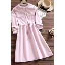 Fancy Women's Blouse Dress Solid Color Ruffles Drawstring Waist Button Detail Round Neck Long-sleeved Regular Fit Midi Blouse Dress