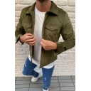 Mens Leisure Plain Single Breasted Long Sleeve Chest Pocket Corduroy Shirt Jacket