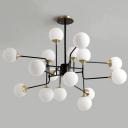 8/12/16 Lights Bedroom Chandelier Postmodern Black-Gold Hanging Light with Ball Milky Glass Shade