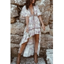 Fancy Women's Asymmetrical Dress All over Floral Print Ruffles Tie Front Contrast Trim V Neck Half Sleeves Asymmetrical Dress