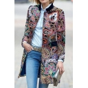 Retro Womens Coat Spiral Vine Flower Print Button up Turn-down Collar Loose Fit Mid Length Long Sleeve Woolen Coat