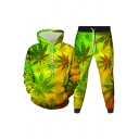 Mens Co-ords Fashionable 3D Leaf Vine Pattern Long Sleeve Hoodie Ankle Length Tapered Pants Slim Fit Jogger Co-ords