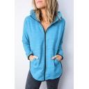 Creative Womens Sports Jacket Space Dye Kangaroo Pocket Zipper up Regular Fitted Long Sleeve Hoodie