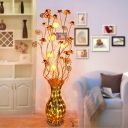 LED Stand Up Light Art Deco Vase and Lotus Shape Aluminum Wire Floor Lamp in Gold for Living Room