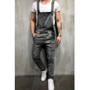 Cool Destroyed Ripped Detail Mens Fitted Denim Overalls Jumpsuits