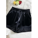 Classic Womens Shorts Rivet Decoration PU Leather Elastic Waist Regular Fitted Wide Leg Relaxed Shorts