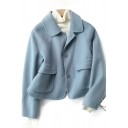 Cool Womens Coat Solid Color Double-Sided Woollen Flap Pockets Button down Slim Fit Long Sleeve Turn-down Collar Cropped Wool Coat
