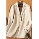 Retro Womens Suit Coat Pockets Double-Face Woollen Button Detail Long Sleeve Notched Lapel Collar Loose Fit Wool Coat