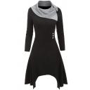 Womens Dress Chic Button Decoration Asymmetric Hem Long Sleeve Midi A-Line Slim Fitted Contrast-Cowl Collar Swing Dress