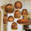Paper Cylinder/Geometric/Pear Drop Pendant Rustic 1-Light Brown Ceiling Hang Lamp for Restaurant, 12