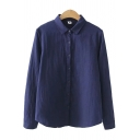 Leisure Women's Shirt Cotton and Linen Solid Color Button Fly Turn-down Collar Long Sleeves Regular Fitted Shirt