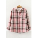 Casual Women's Shirt Plushed Thickened Plaid Pattern Chest Pocket Button Closure Turn-down Collar Regular Fitted Shirt