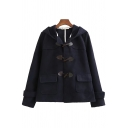 Elegant Women's Coat Contrast Panel Horn Button Flap Pockets Hooded Buckle Cuffs Long Sleeves Relaxed Fit Down Coat