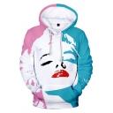 Mens 3D Hoodie Creative Marilyn Monroe Face Pattern Kangaroo Pocket Drawstring Long Sleeve Regular Fit Hooded Sweatshirt