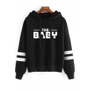 Mens Hoodie Trendy Yoda Letter Baby Print Arm-Stripe Drawstring Long Sleeve Relaxed Fitted Hooded Sweatshirt