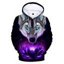 Lotus Wolf Printed Long Sleeve Casual Hoodie