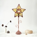Single-Bulb Night Table Light Turkish Hand-Beaded Star/Bell/Cylinder Metal Nightstand Lamp in Copper