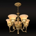 Traditional Trumpet Shaped Hanging Light 5 Bulbs Frosted White Glass Chandelier with Bronze Curved Arm