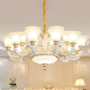 6/8/12 Heads Ivory Glass Drop Lamp Traditional White Paneled Bell Dining Room Chandelier