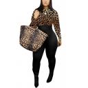 Womens Jumpsuit Stylish Leopard Zebra Tiger Skin Print Contrast Long Sleeve Crew Neck Skinny Fitted Jumpsuit