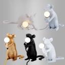 Novelty Art Decor Mouse Night Lighting Resin Single Child Bedside Table Lamp in White