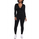 Unique Womens Co-ords Plain Slim Fitted Pants Zipper up Hooded Long Sleeve Jacket Co-ords