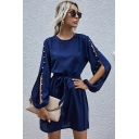 Fashionable Women's A-Line Dress Solid Color Beading Pattern Hollow out Bishop Sleeves Round Neck Regular Fitted A-Line Dress with Belt