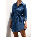 Casual Women's Shirt Jeans Dress Solid Color Chest Pockets Button-down Spread Collar Long Sleeves Short Shirt Dress with Belt