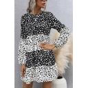 Fancy Womens Shirt Dress Polka Dot Print Color Block Contrast Panel Ruffled Detail Round Neck Long Bishop Sleeves Shirt Dress