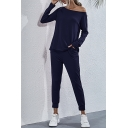 Womens Co-ords Stylish Solid Color Regular Fitted Tapered Pants Sloping Shoulder Long Sleeve Tee Co-ords