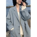 Stylish Womens Woolen Coat Space Dye Pattern Button-down Front Pocket Notched Lapel Collar Long Sleeves Regular Fitted Woolen Coat