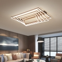 3/4/5-Tier Rectangle Aluminum Flush Light Contemporary Coffee LED Semi Flush Mount Ceiling Lamp in Warm/White Light