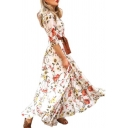 Gorgeous Ladies' Long Sleeve Round Neck All Over Floral Pattern Maxi Pleated Flowy Dress in White